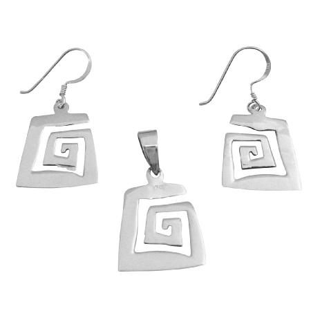 Sterling Silver Pendant & Earrings Set Affordable under $10 Pendant