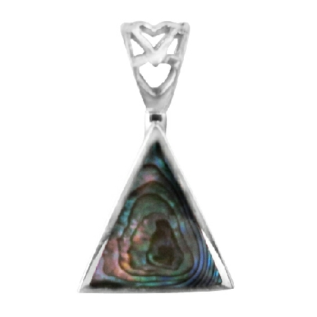 Triangular Abalone Shell Pendant in Sterling Silver