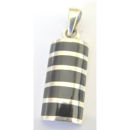Onyx Sterling Silver Pendant W/ Silver Stripe