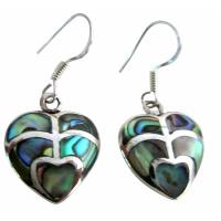 Cute Valentine Gift Abalone Heart Sterling Silver Earrings Inlay Gift