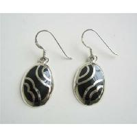 Striking Sterling Silver Inlay Black Onyx Sterling Silver 92.5 Earrings