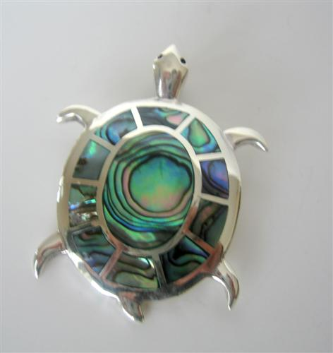 Turtle Abalone Shell Genuine STERLING Silver PENDANT Weight 15.4 gm