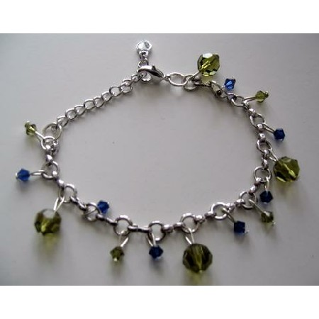 Elegant Formal Bracelet in silver with Tahitan and Sapphire Crystal hanging