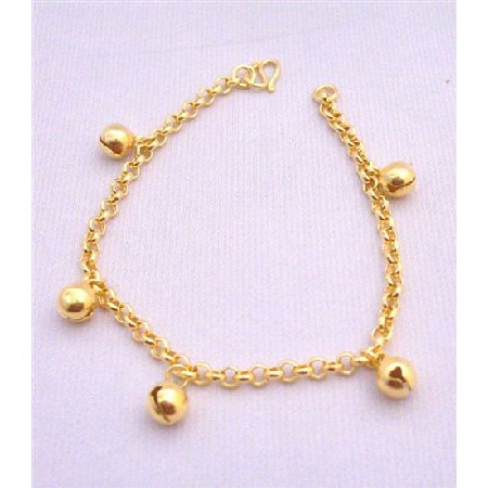 Chained Bracelet w/ Ball Dangling Gold Plated Bracelet Gold Chained