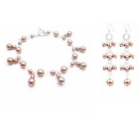 Wedding Bronze Pearls Dangling Bracelet Matching Earrings Silver Hook