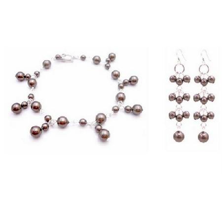 Bridesmaid Wedding Jewelry Chocolate Brown Pearls Bracelet & Earrings
