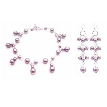 Dainty Sleek Fashionable Lavender Pearls Wedding Bracelet Earrings Set