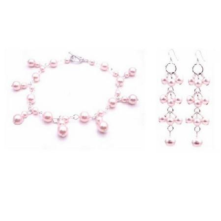 Rosaline Pearls Jewelry Pink Pearls Bracelet & Earrings Set