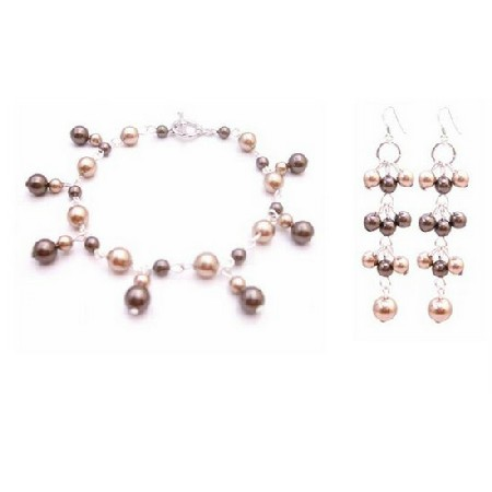 Customize Your Jewelry Bracelet Earrings Bronze Brown Dangling Pearls