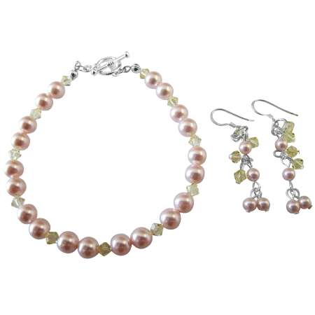Handmade Jewelry Wedding Bridal Pink & Jonquil Bracelet & Earrings Set