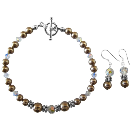 Handcrafted Customize Your Wedding Jewelry Champagne Pearl & Clear Crystals With Bali Silver