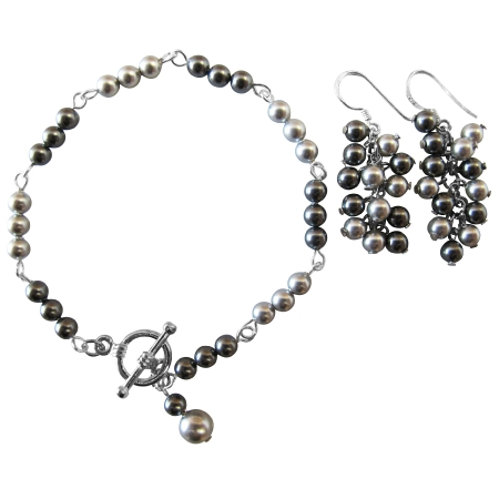 Prom Jewelry Gift Bridesmaid Lite & Dark Gray Combo Bracelet Earrings