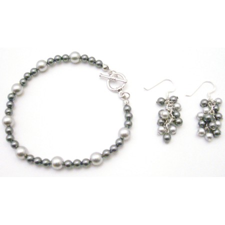 Wedding Gray Jewelry Lite Dark Gray w/ Dangling Grape Bunch Earrings