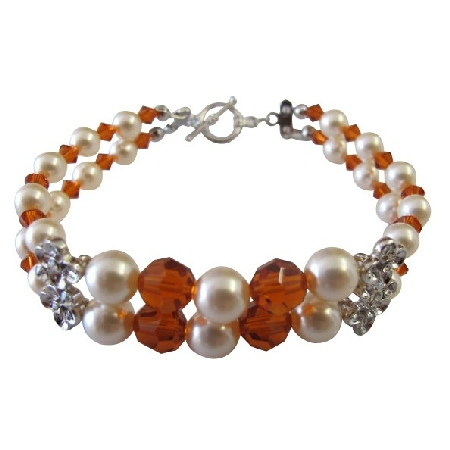 Wife Girl Friend Mother Stylish Pearls & Crystals Bracelet