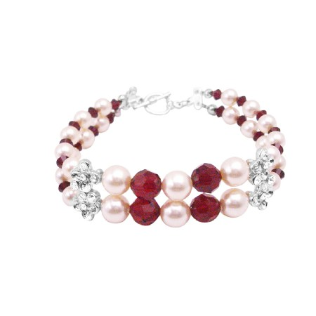 Wedding Design Jewelry Siam Red Crystals & Cream Pearls Gift