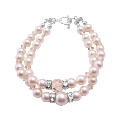 Ivory Pearls Golden Shadow Crystals Double Stranded Bracelet