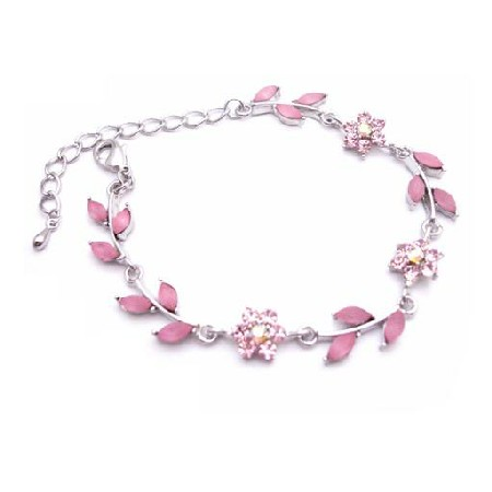 Trendy & Fashionable Pink Enamel Flower & Leaves Silver Metal Bracelet