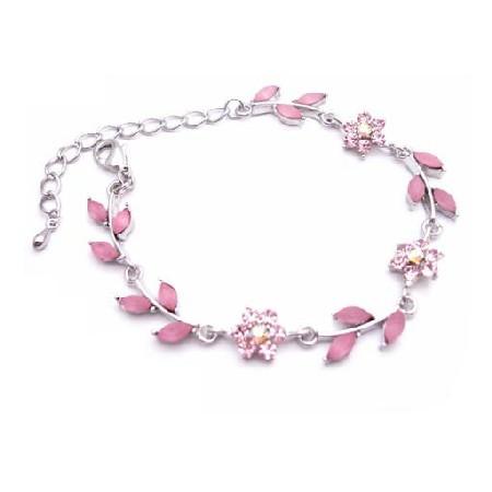 silver pink bracelet