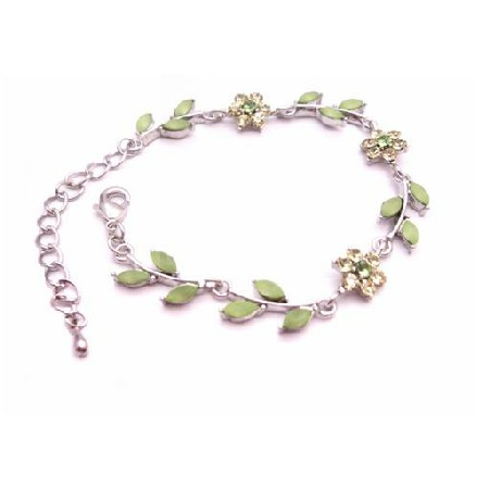 Arrival Peridot Green Enamel Flower & Leaves Silver Metal Bracelet