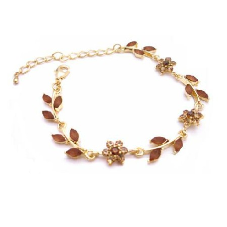 Gold Plated Bracelet w/ Enamel Smoked Topaz Crystals Brown Bracelet