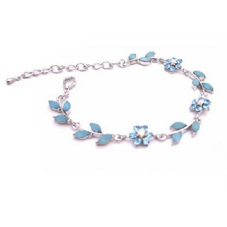Stylish Aquamarine Blue Enamel Flower Leaves Silver Metal Bracelet