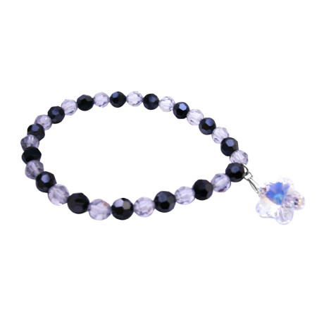 Gift Bracelet Shadow & Jet Crystals Dangling AB Crystal Flower