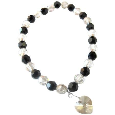 Stretchable Bracelet Valentine Gift Swrovski Shadow crystals & Jet crystals with Heart Dangling Bracelet
