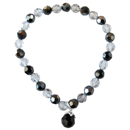 Crystals Jet & Shadow 6mm Round Bracelet Round Jet Dangling