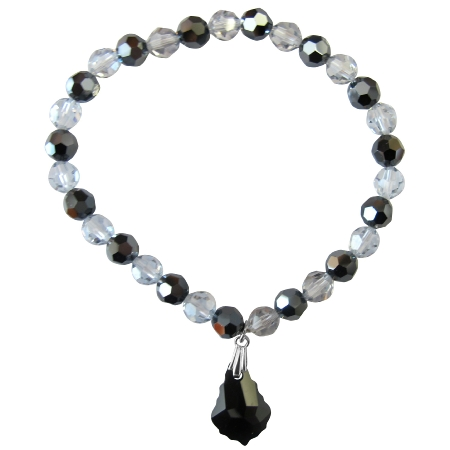 Black Baroque Bracelet Shadow & Jet Crystals Gift Bracelet