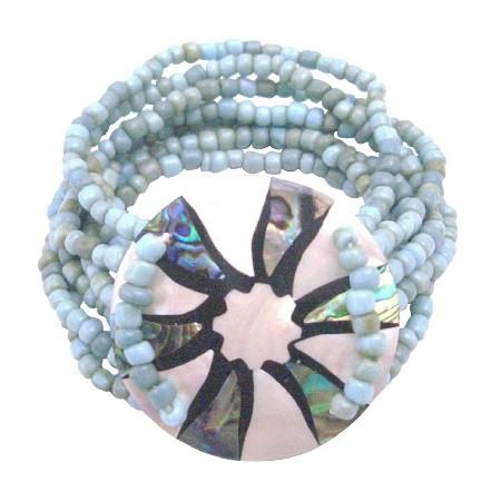Multi Stranded Fashion Bracelet Turquiose Beads & Round Shell Bracelet
