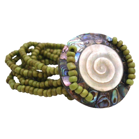 Shiva Eye Round Shell w/ 7 Stranded Olivine Beads Stretchable Bracelet