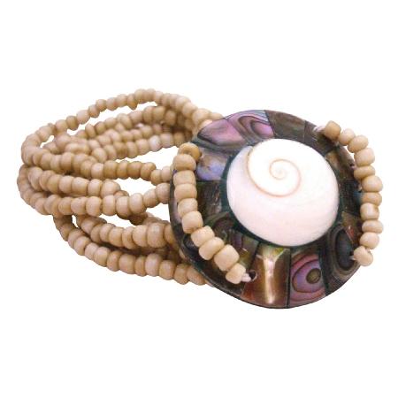 Beige Color Bracelet Shiva Eye Shell w/ Beads 7 Stranded Bracelet