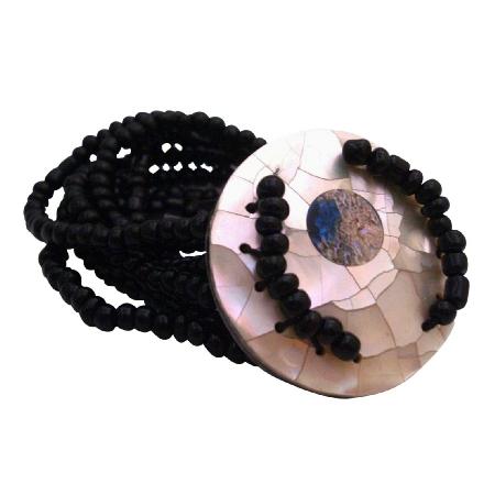 Christmas Gift Multi Stranded Classy Shell Onyx Beads Bracelet