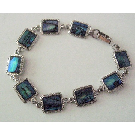 Rectangular Bracelet w/ Abalone Shell Affordable Gift