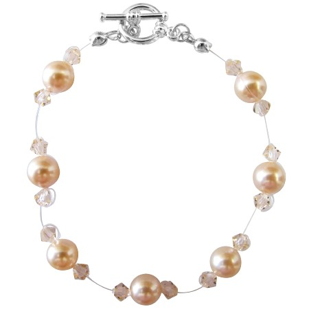 Peach Pearls Bracelet Bracelet w/ Peach Crystals Bracelet