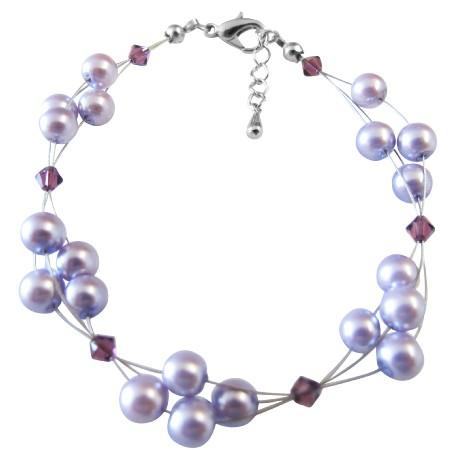 Bronze Pearls Bracelet w/ Lite Colorado Crystals Bracelet