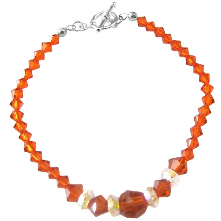 Fall Jewelery Burtn Orange Crystals Indian Red Crystal AB Crystal Spacer Crystals