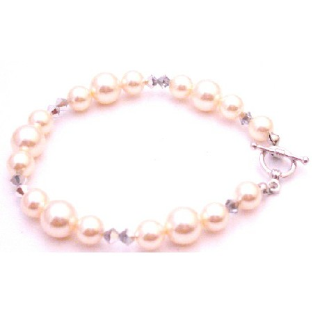 Best Gift For Bridesmaid Ivory Pearl Comet Crystals Bracelet
