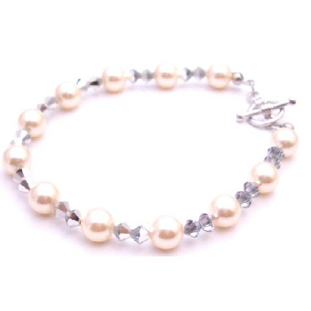 Unique Bridesmaid Bracelet Ivory Pearl Comet Crystal Jewelry