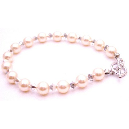 Designer Bridesmaid Jewelry Bracelet Ivory Pearls Comet Crystals