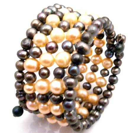 Peach Black Freshwater Pearls Five Stranded Bangle Bracelet Jewelry