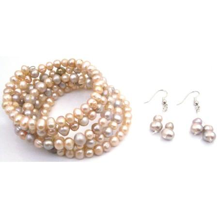 Wedding Wire Wrap Bracelet Freshwater Peach & Natural Pearls Earrings