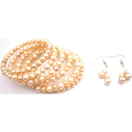 Bridesmaid Peach Jewelry Freshwater Pearls Wrap Bracelet Earrings Set