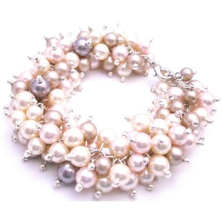 Linked Cluster Mauve Ivory Champagne Rosaline Pearl Bracelet