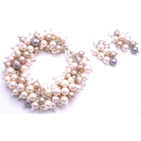 Gift Your Wife Ivory Champagne Rosaline Pearls Bracelet