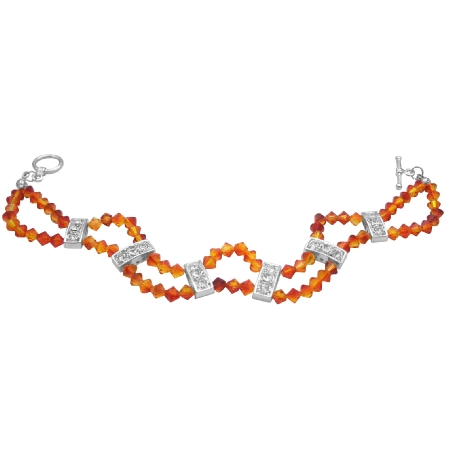 Fall Jewelry Fire Opal Crystals Double Stranded Diamante