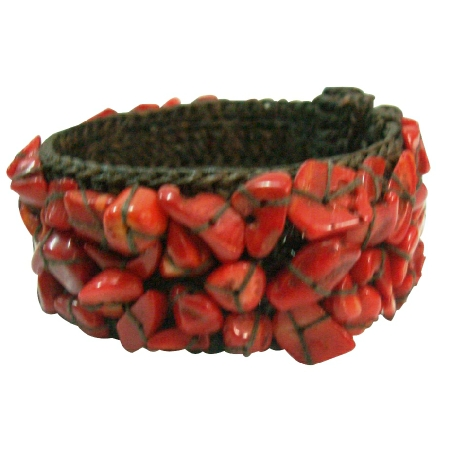 Inexpensive Cotton Rope Red Coral Wire Cuff Bracelet