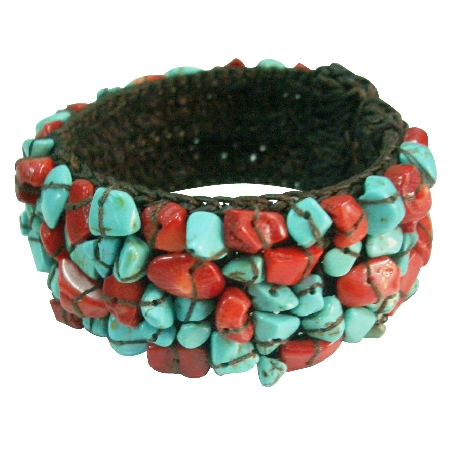 Fun Wear Elegant stylish Gift Cuff Bracelet Turquoise & Coral Nuggets