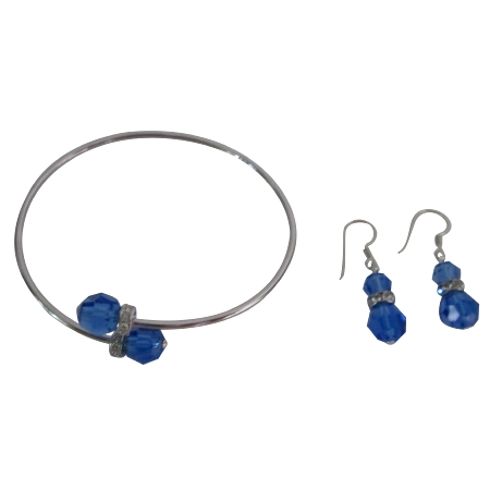 Rich Look Sapphire Crystals Sterling Silver Earrings Set