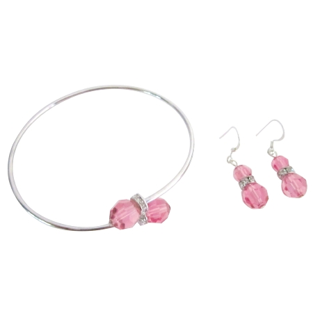 Rose Bridal Statement Bracelet Earrings